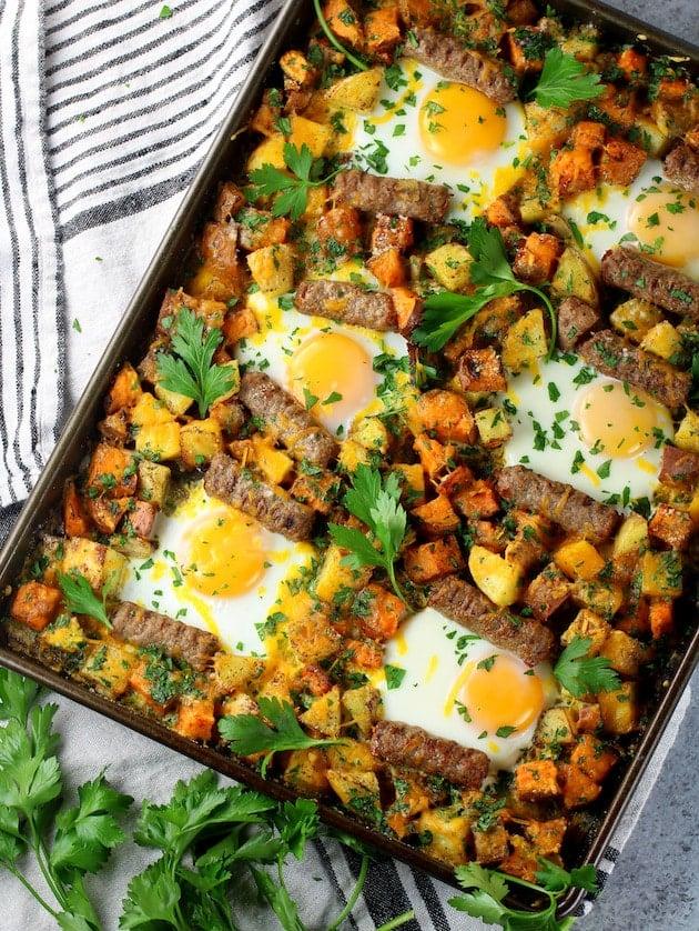 Sweet Potato Turkey Sausage Breakfast Sheet Pan
