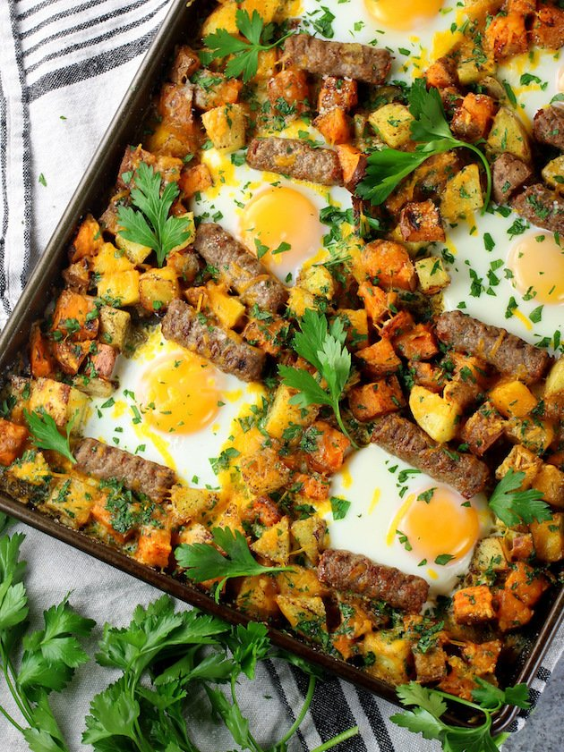 Sweet Potato Turkey Sausage Breakfast Sheet Pan meal on a baking sheet