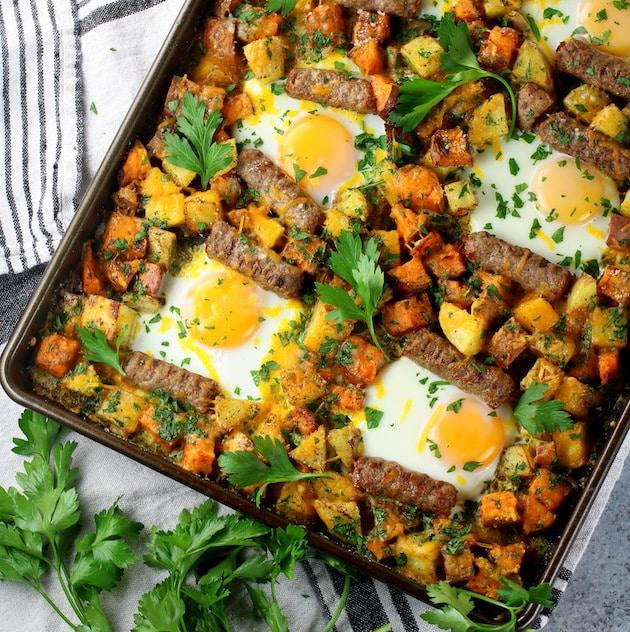 Breakfast Sheet Pan with Turkey Sausage Recipe