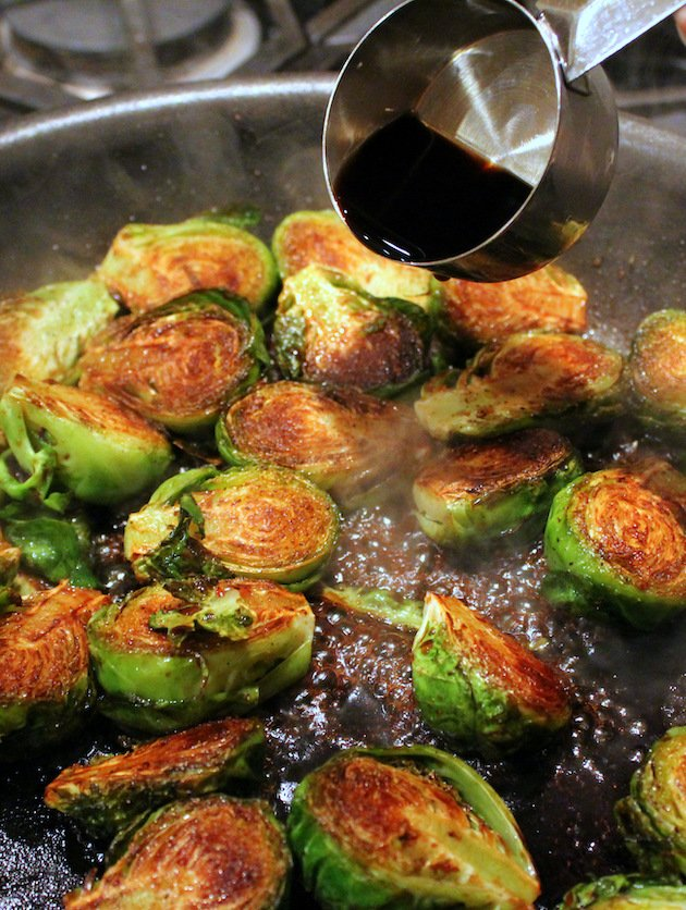 Adding Balsamic Vinegar to Brussels Sprouts Cooking in saute pan