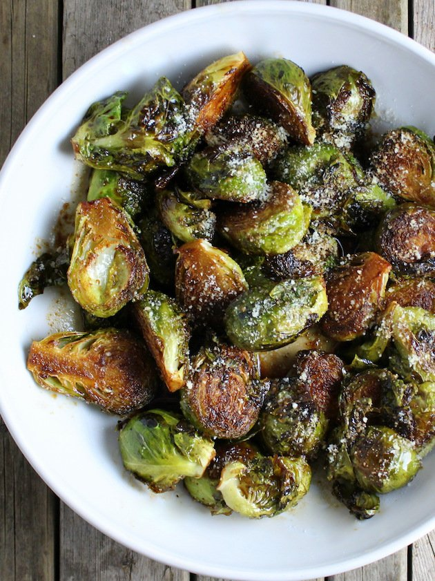 Balsamic Glazed Brussels Sprouts in a partial serving bowl