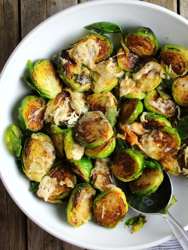 Sauteed Brussels Sprouts with melted cheese