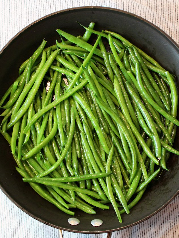 Garlic Green Beans - French Green Beans being cooked.