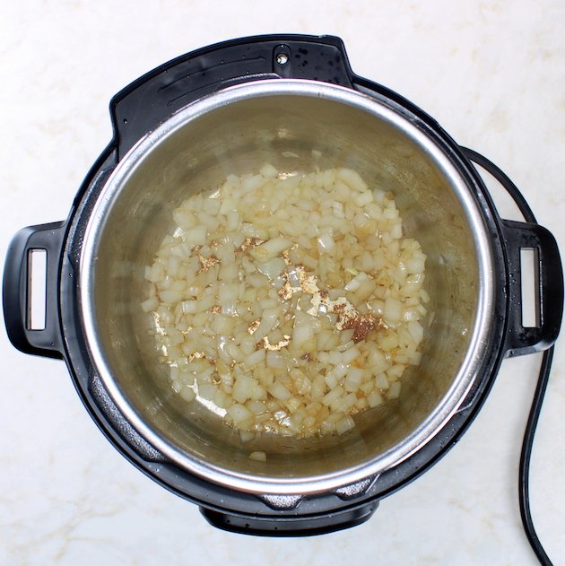 Onions sauteeing in an instant pot