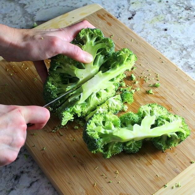 Slicing Broccoli on cutting board