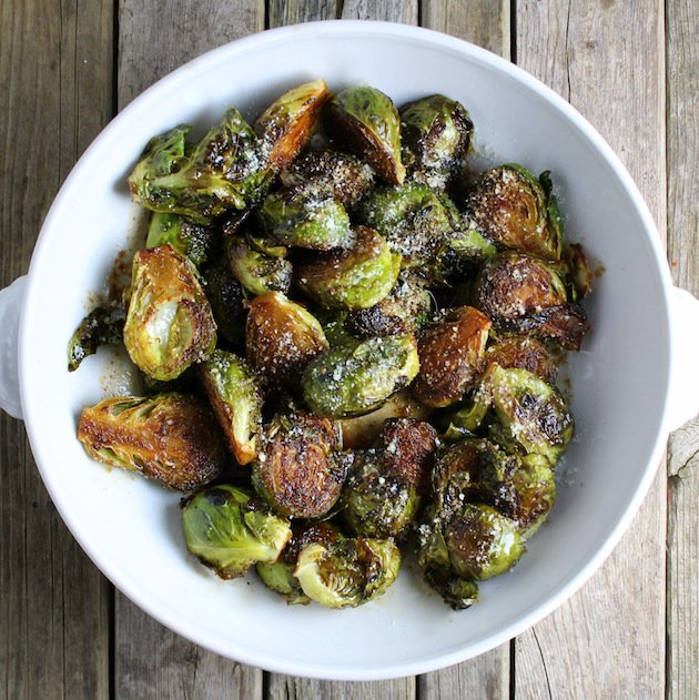 Cooked Balsamic Brussels Sprouts in Serving Dish