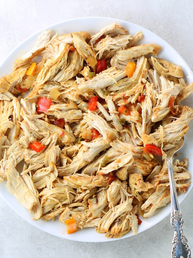 Shredded chicken for Southwest Chicken Soup