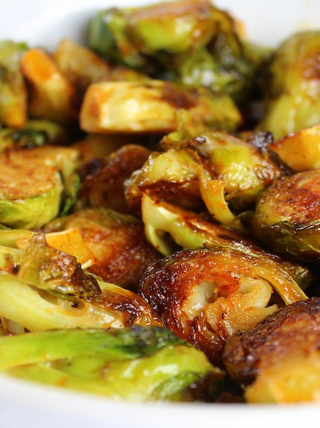 Close up eye level of Caramelized Brussels Sprouts