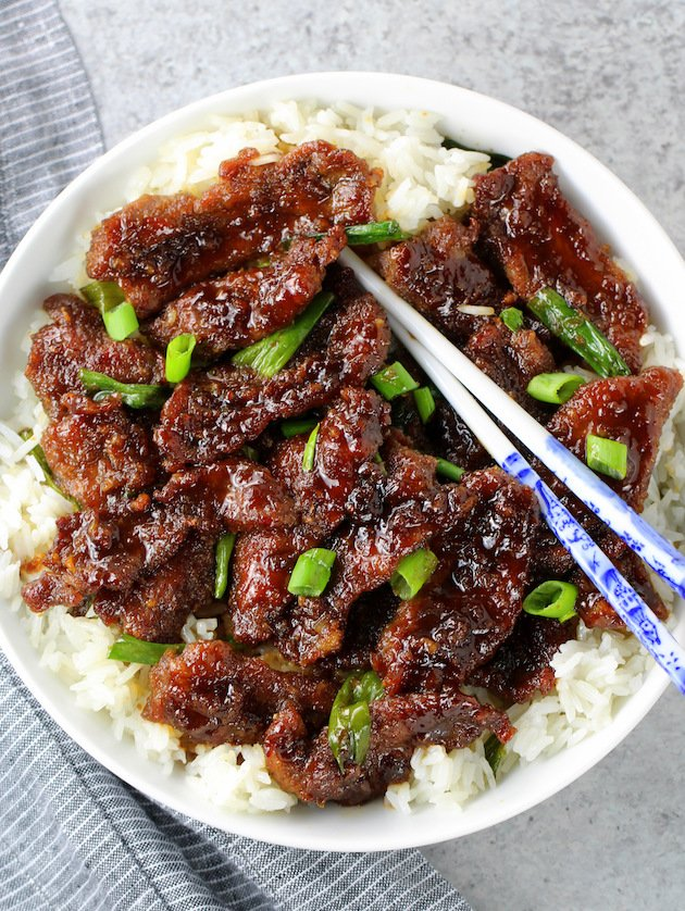 A plate of Mongolian beef
