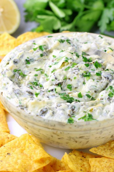 A bowl of Artichoke and Spinach Dip