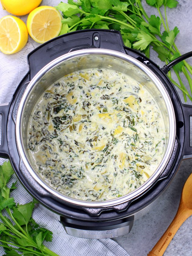 Artichoke and Spinach dip after pressure cooking in the Instant Pot