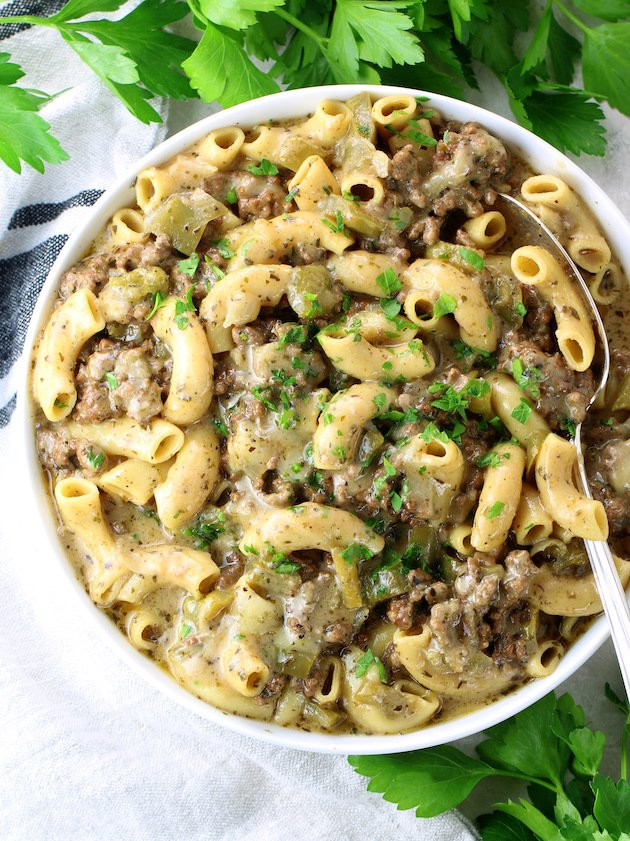 Philly Cheesesteak pasta in serving bowl