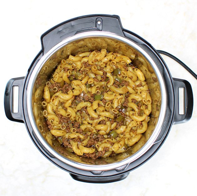 Pasta cooked in instant pot with ground beef, peppers, and onions