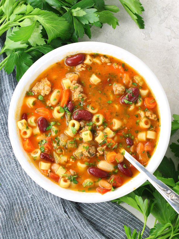 A bowl of soup, with Pasta e fagioli