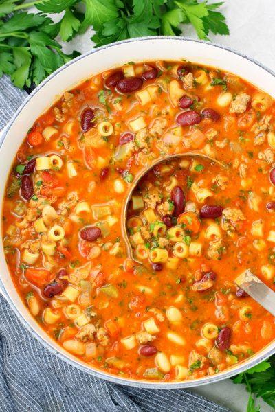 Large soup pot of Italian Pasta Fagioli Soup