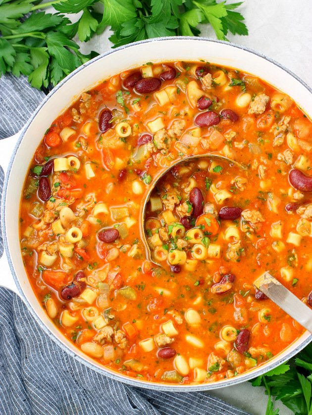 Large soup pot of Italian Pasta Fagioli Soup