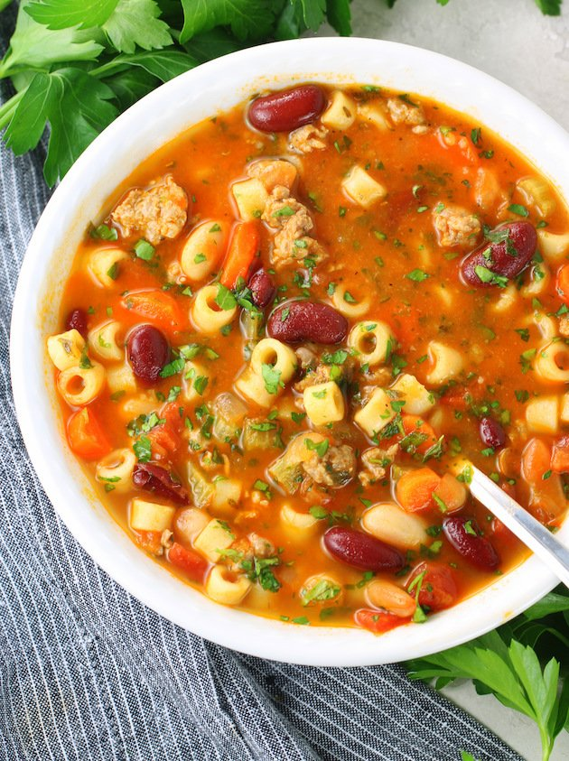 Pasta Fagioli in a bowl