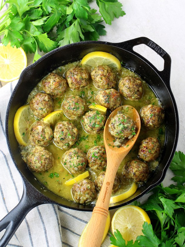 Veal Piccata Meatballs in a skillet