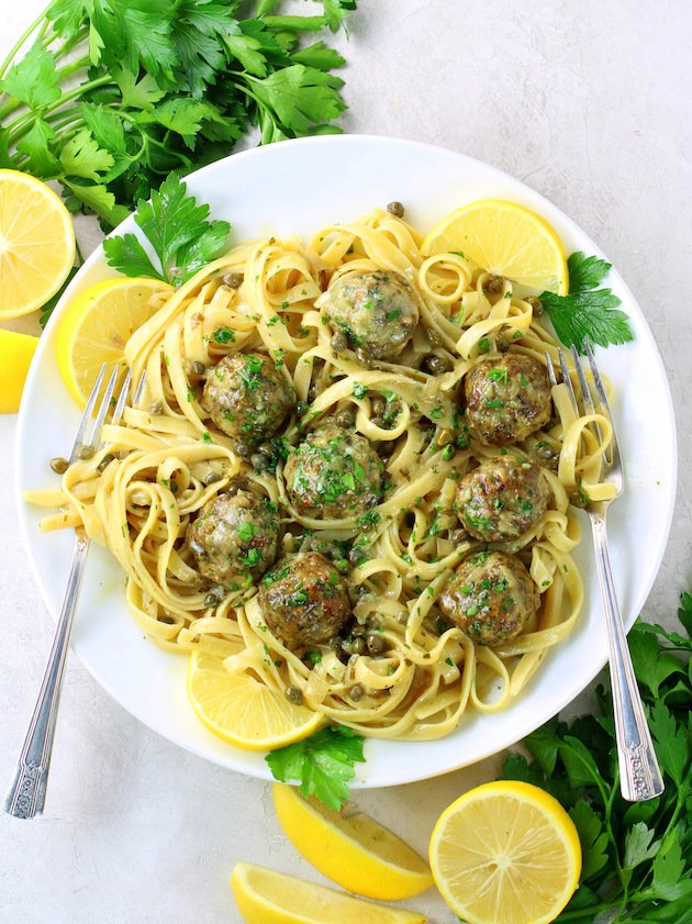 Veal Piccata Meatballs on Fettucine