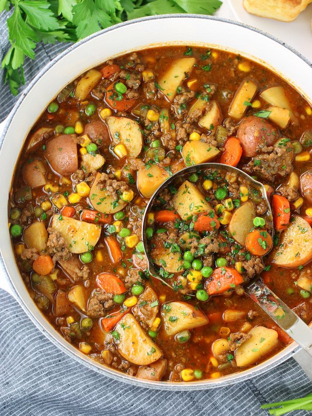 Beef Pot Pie Soup in soup pot