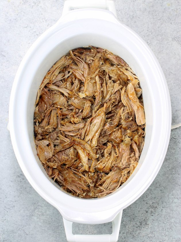 slow cooker with pulled pork shoulder