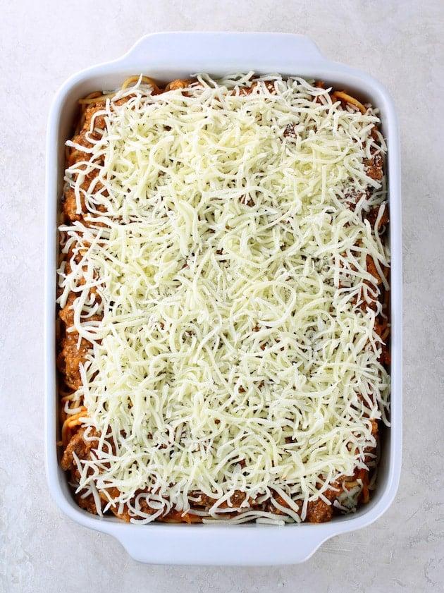 Baking dish with layers of spaghetti casserole