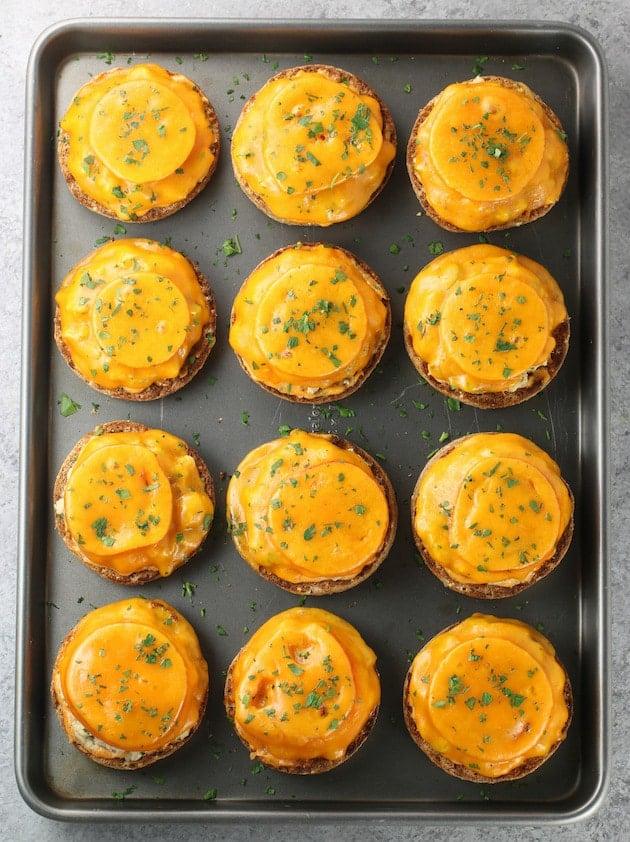 12 tuna melts on a baking sheet