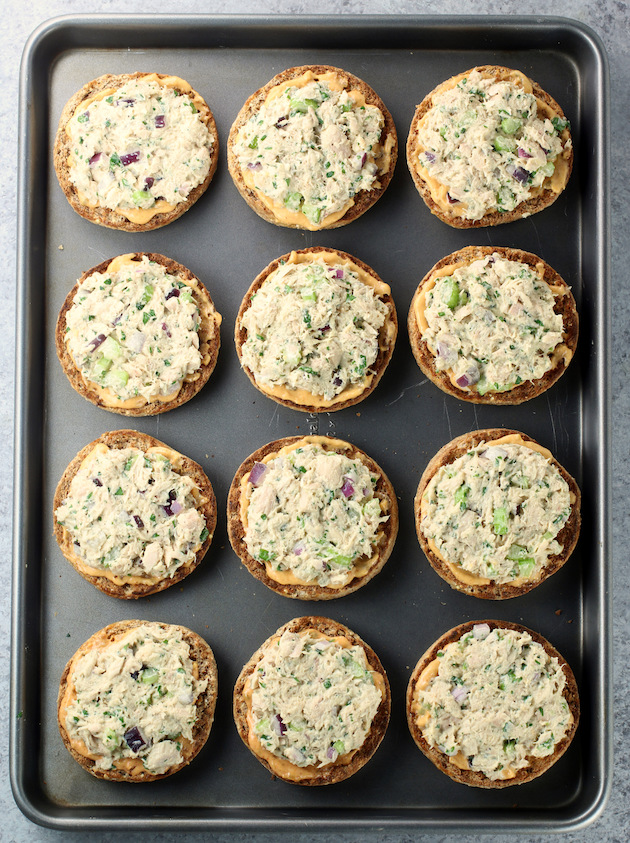 Tuna Melts on a baking sheet