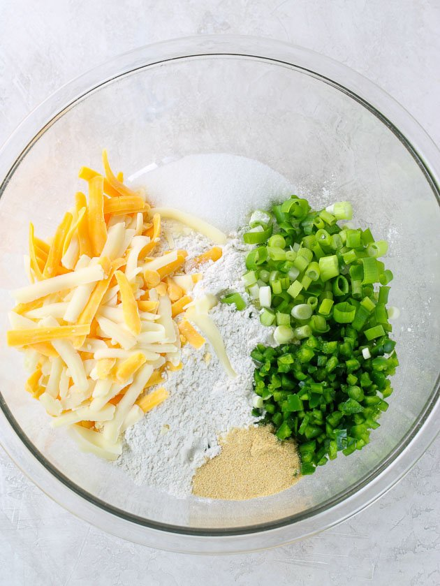 bowl of ingredients for jalapeno beer bread