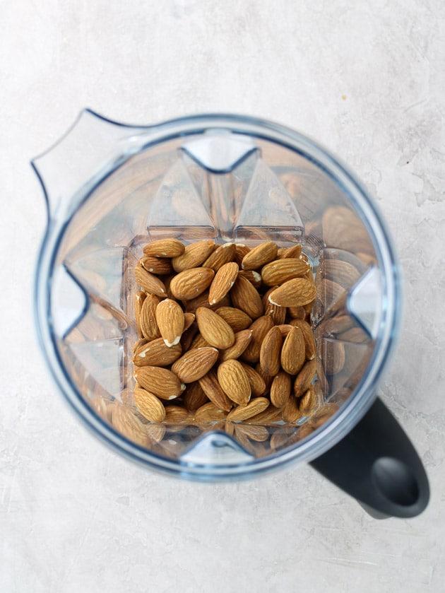 almonds in vitamix before pulsing