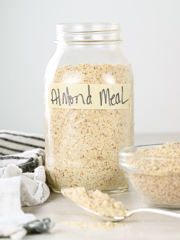 Homemade Almond Meal in a mason jar