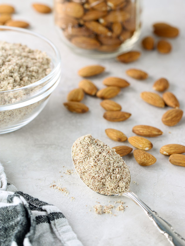 Spoonful of homemade almond meal