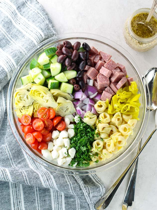 Ingredients for Italian Tortellini Pasta Salad