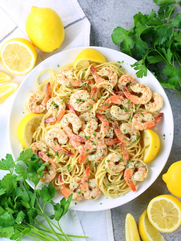 Plate of Lemon Pepper Shrimp on Angel Hair Pasta
