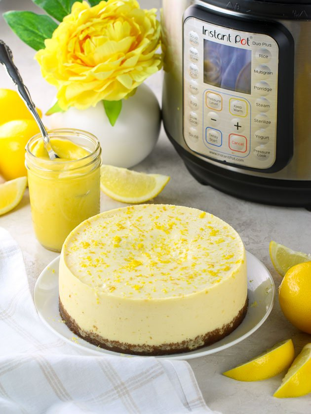 Lemon Cheesecake in front of an instant pot