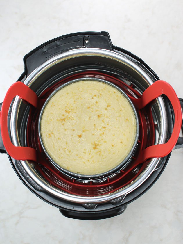 Instant Pot Lemon cheesecake after cooking