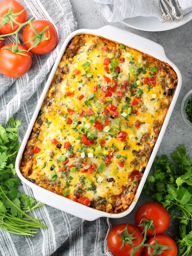 casserole dish with mexican lasagna