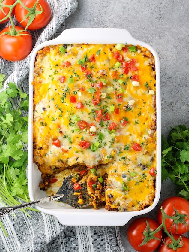 Casserole dish of mexican lasagna