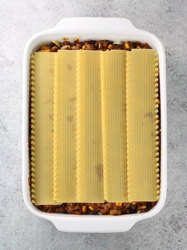 Layering lasagna noodles onto mexican lasagna casserole