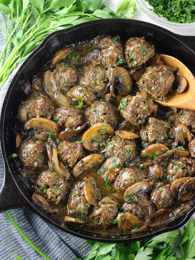 A pan filled with Meatballs