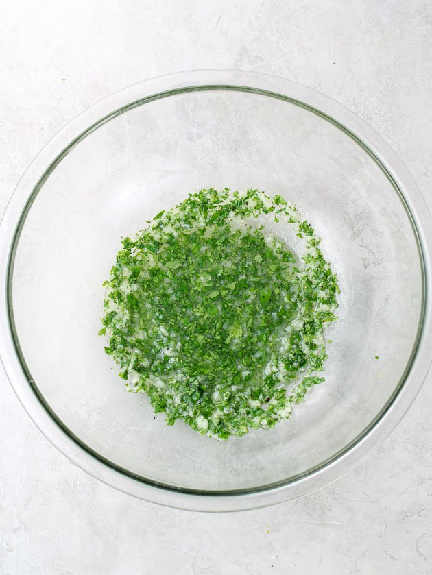 Cilantro lime marinade in a glass bowl