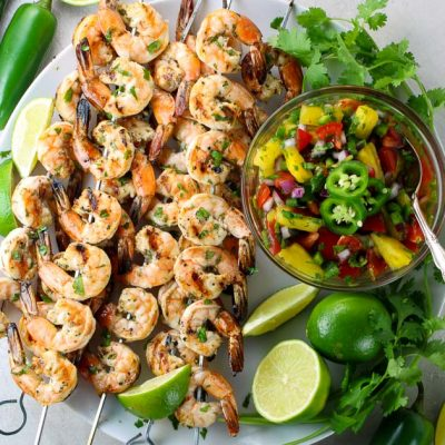 Cilantro Lime Grilled Shrimp with Pineapple Salsa
