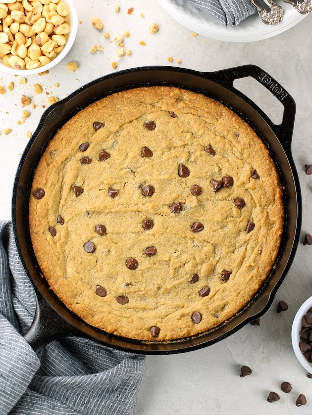 Cast iron skillet with baked peanut butter gluten free cookie
