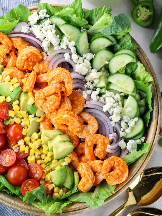Partial Platter overhead cobb salad with buffalo shrimp