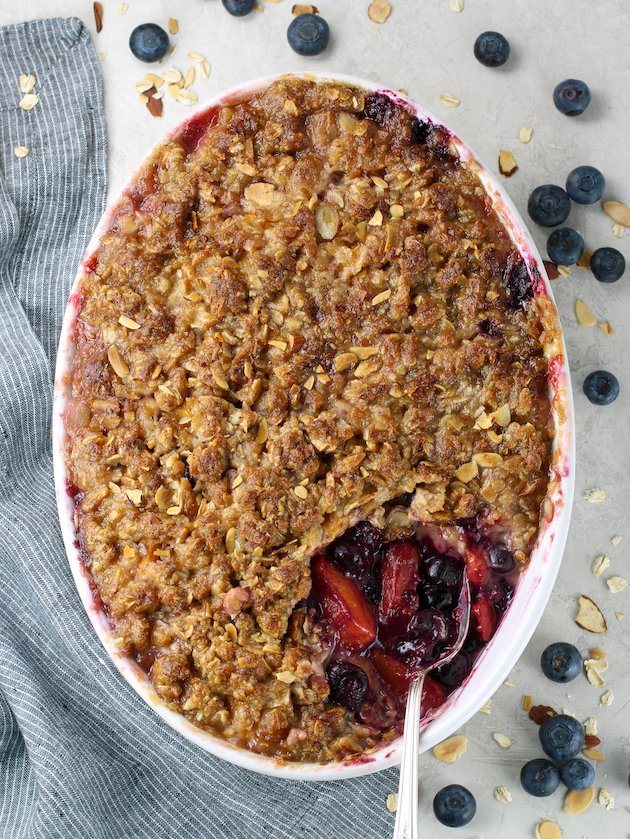 Peach Blueberry Crisp in baking dish