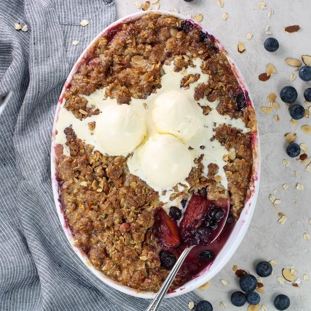 Blueberry crisp with vanilla ice cream