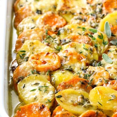 Scalloped Yukon Gold and Sweet Potato Gratin