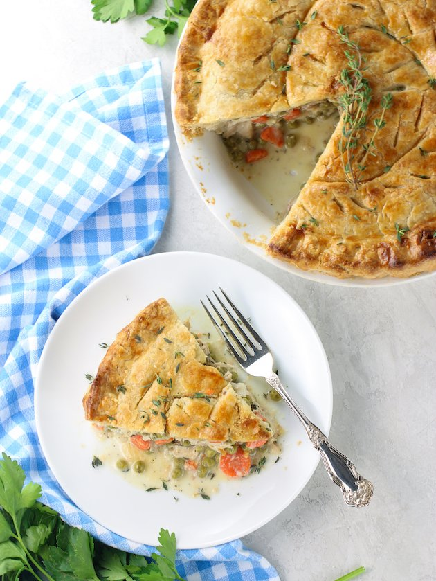 Savory pie with shredded chicken carrots, and peas