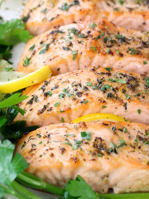 crispy baked salmon with herbs and lemon