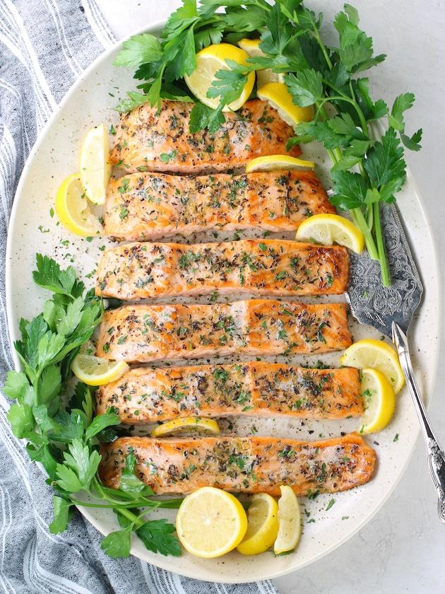 Baked Lemon Pepper Salmon (Gluten Free) on a serving platter